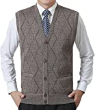 JOKHOO Men's Business Solid Button Knitwear Sweater Vest Sleeveless Knitted Waistcoat (XL, Khaki)