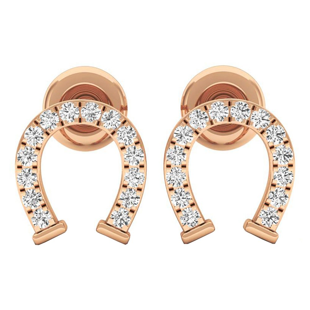 0.10 Carat (ctw) 10K Gold Round White Diamond Ladies Horseshoe Stud Earrings 1/10 CT