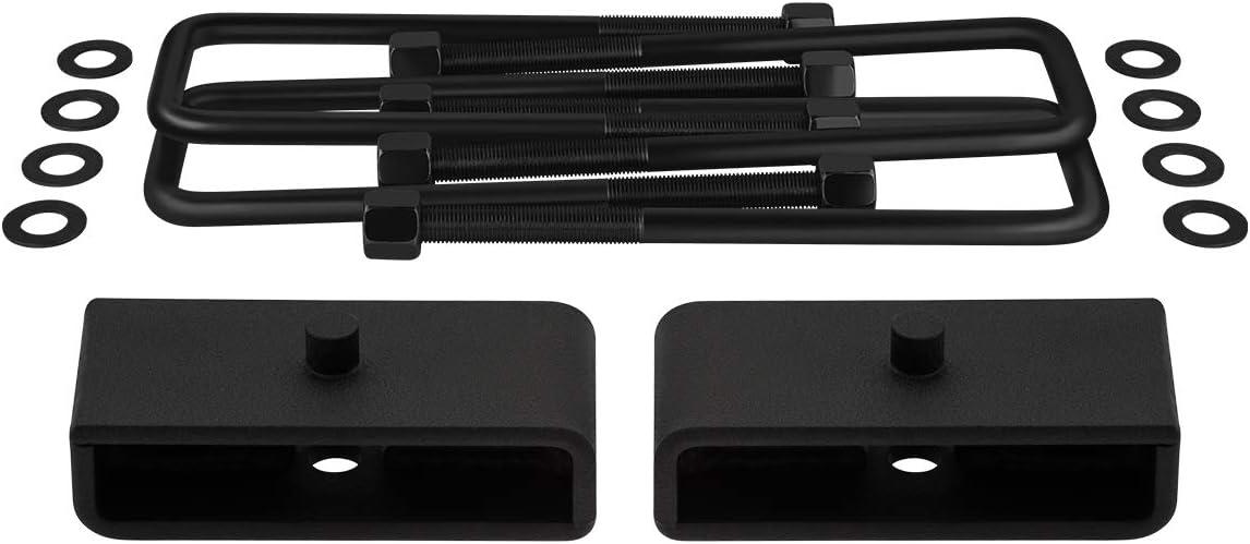 Square Bend U-Bolts 4WD Supreme Suspensions 1 Rear Lift Blocks Full Lift Kit for 1987-2004 Dodge Dakota Adjustable 1 to 3 Front Lift Torsion Keys