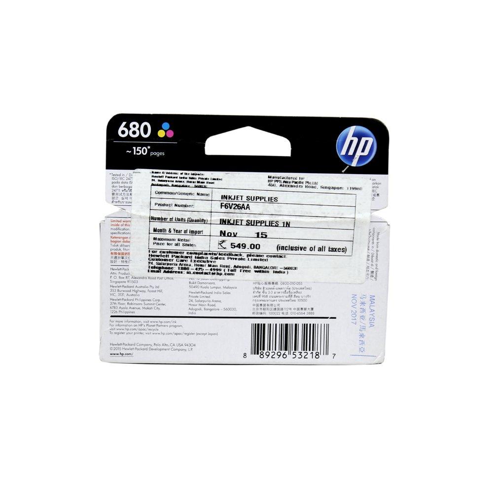 Hp 680 Tri Color Original Ink Advantage Cartridge Pack Of 2 Amazon Computers Accessories