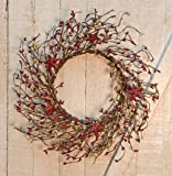 Heart of America Burgundy & Gold Holiday Stars Pip 14'' Wreath