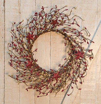 Heart of America Burgundy & Gold Holiday Stars Pip 14'' Wreath
