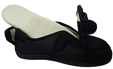 1c62447bb836 Surf 4 Shoes Mens Ladies Very Wide E 5E Opens Out Flat Memory Foam Touch  Fastening Slippers Non Slip in Black Tartan  Amazon.co.uk  Shoes   Bags