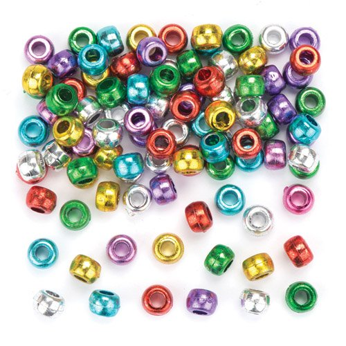 (Baker Ross Metallic Pony Beads for Kids Perfect for Children's Arts, Crafts and Decorating for Boys and Girls (Pack of 300))