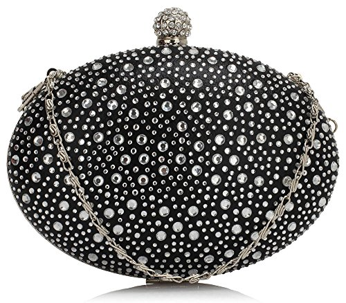 DELIVERY Bag Clutch Design Black FREE Diamante Evening Gorgeous UK xX8BRqw7