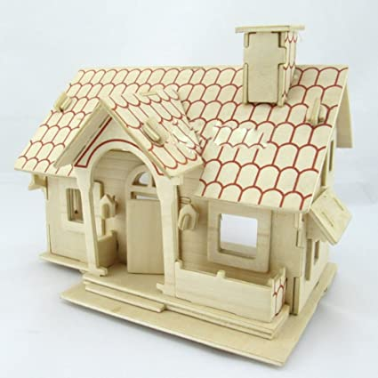 Kaden G P 3D Jigsaw Woodcraft DIY Assembly Construction Model House  Container Puzzle Kit Wooden Handcraft Educational