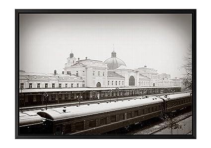 Amazon.com: Winter Railway Station Black Wooden Frame Art Print ...