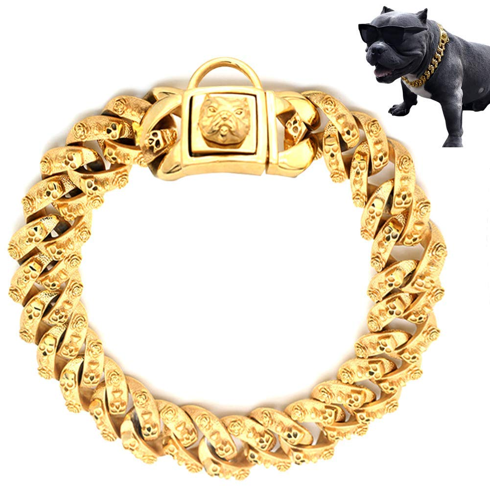 MUJING Gold Dog Chain Collar, Stainless Steel Training Collar, Heavy Duty Cuban Link Gold Plated Large Pet Necklace Choke for Bully Pitbull,Bulldog, Mastiff, 30mm Wide,XXXL
