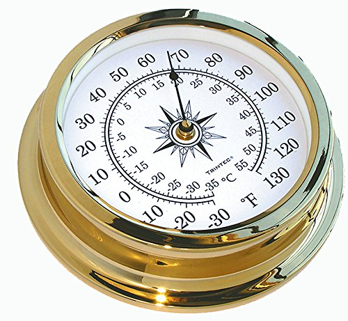 Shore Station Clock - Trintec Marine Solaris Thermometer Solid Brass Marine Instrument SOL-03 On shore or Off shore