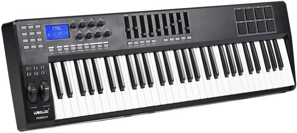 Asdomo PANDA61 Controlador de teclado MIDI portátil de 61 ...