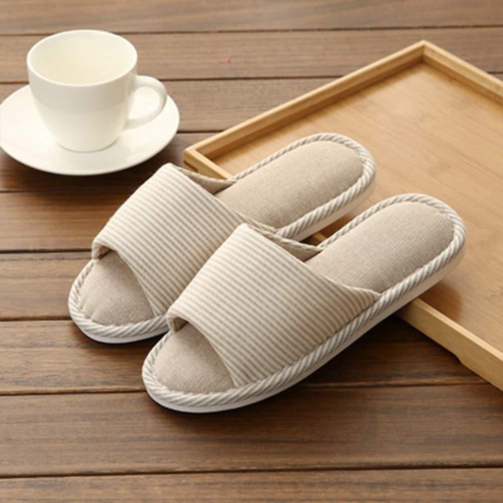 T-JULY Unisex Striped Home Linen Indoor Floor Soft Floor Leisure Non-Slip Slippers Lovers Slip On Flat Sandals
