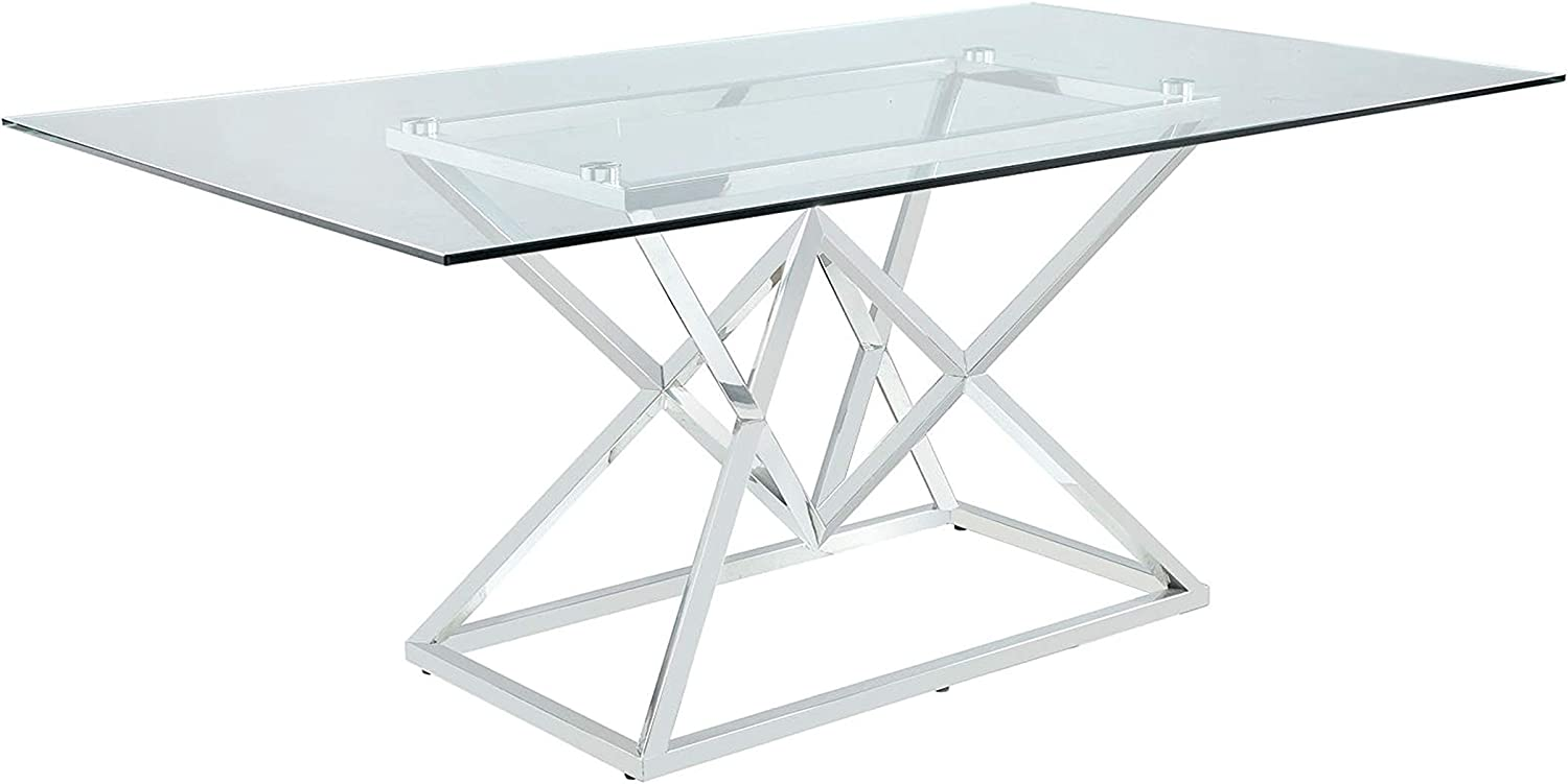Coaster Home Furnishings Beaufort Rectangle Glass Top Dining Table, Chrome and Clear