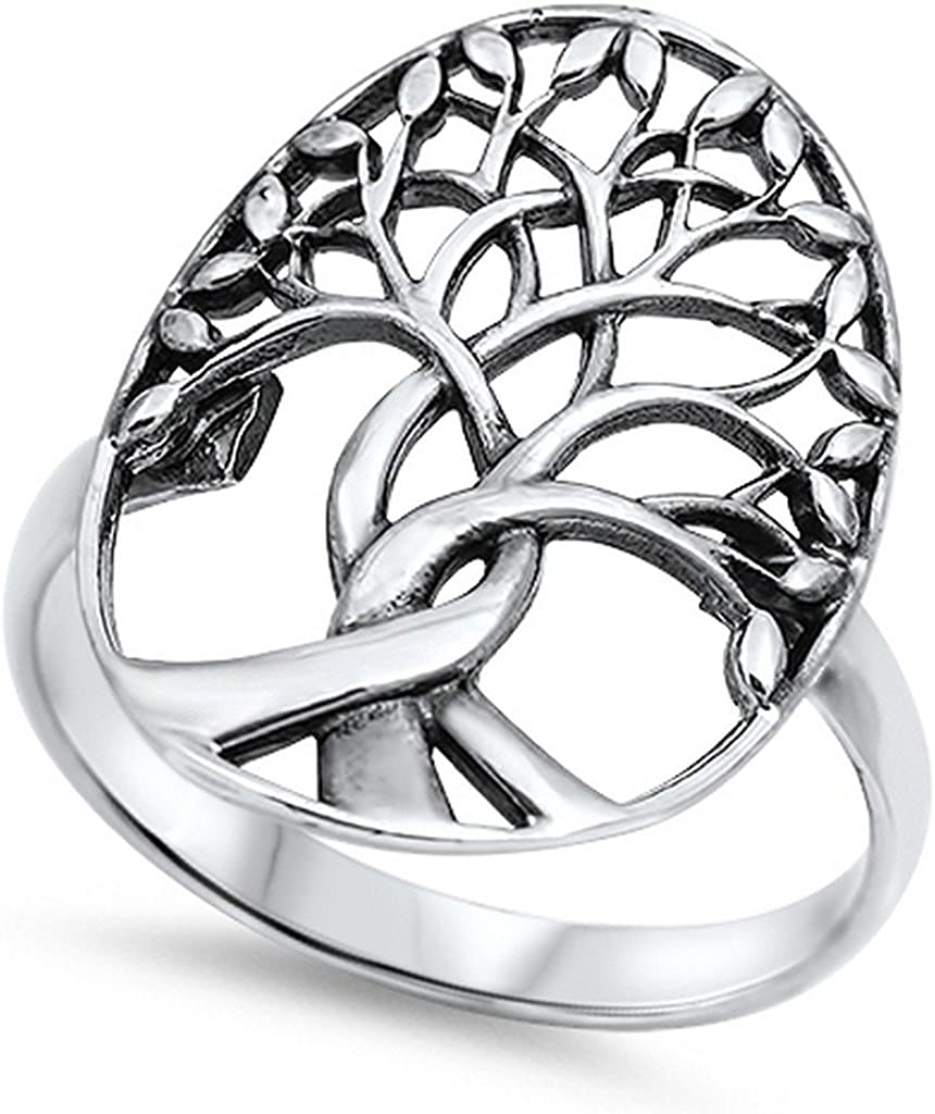 Blue Apple Co. Tree of Life Ring Solid 925 Sterling Silver Family Tree of Life Band 3-14 Simple Plain