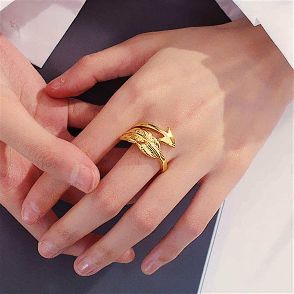 JczR.Y Vintage Arrow Feather Open Rings Adjustable Simple Leaf Triangle Index Finger Rings for Women Girls Fashion Couple Jewelry