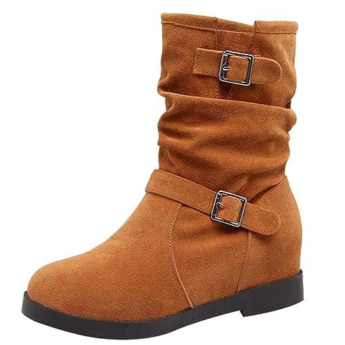 ❤ Tefamore Botas Mujer Hebilla Zapatos Martin Boots Botines de Mini Tacón Casual Antideslizantes Zapatos de Punta Redonda: Amazon.es: Zapatos y ...