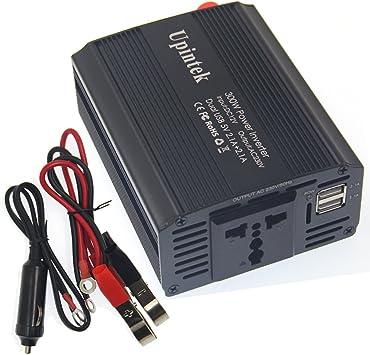 con Accendisigari Inverter da Auto 300W Spina Universale Invertitore di Potenza da DC 12V a AC 220V Porte USB