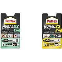 Pattex Nural 92 Pegamento reparador de plásticos, cola transparente para reparar y pegar plástico + Nural 23 Pegamento…