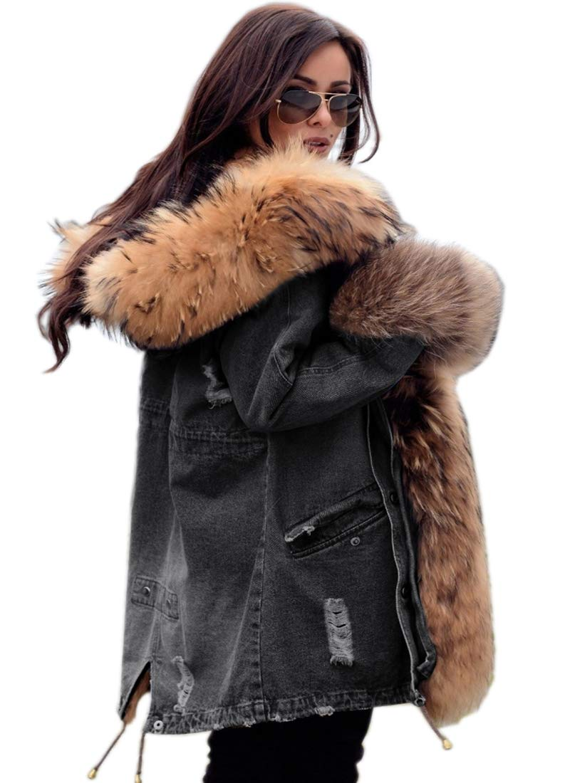 Aofur Womens Hooded Faux Fur Lined Warm Coats Parkas Anoraks Outwear Winter Long Jackets (X-Large, Denim Grey) by Aofur