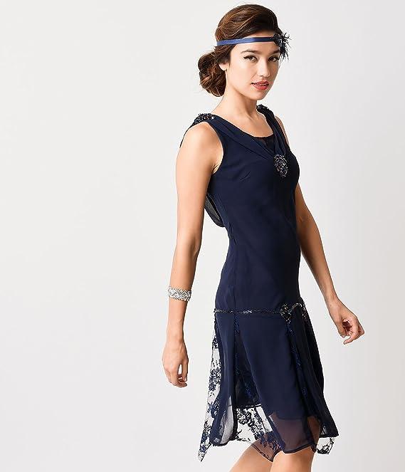 f509c8b2b02 Amazon.com  Unique Vintage Navy Hemingway Flapper Dress  Clothing