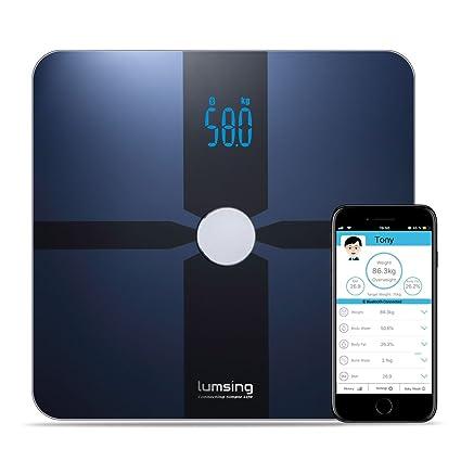 LUMSING Báscula Digital Inteligente con Bluetooth y aplicación gratuita para iOS, Android (Azul Marino
