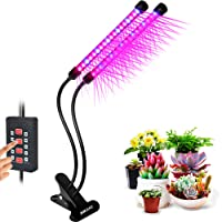 UPGRADED Timing Function Auto Off Dual head Grow light 36LED 3 working modes 5 Dimmable Levels Full spectrum for Indoor Plants with 360 Degree Adjustable Plant light,Grow lights for indoor plants(18W Timing Function Auto Off)