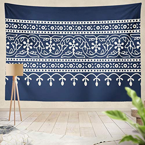 Summor Decor Collection, Indigo Dye Ethnic Floral Geometric Border Traditional Oriental Ornament India Flowers Wave and Motif Navy Living Room Wall Hanging Tapestry 60