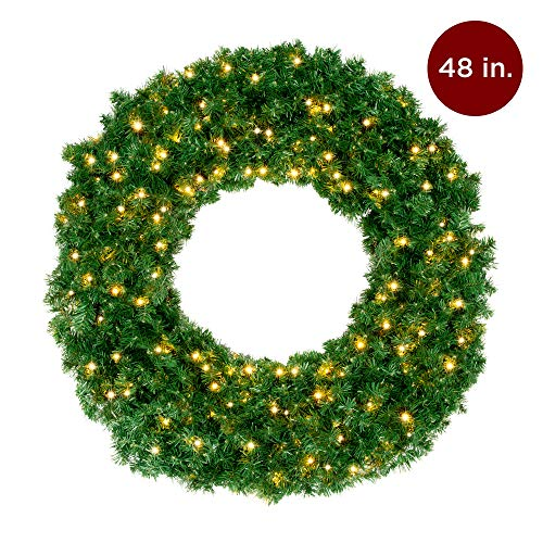 Best Choice Products 48in Large Pre-Lit Battery Operated Cordless Christmas Wreath Holiday Decoration w/ 200 Warm White LED Lights, 714 Tips (Lit Wreath Outdoor Pre 48)