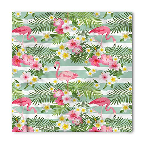Ambesonne Unisex Bandana, Flamingo Exotic Hawaiian Leaf, Green Pink