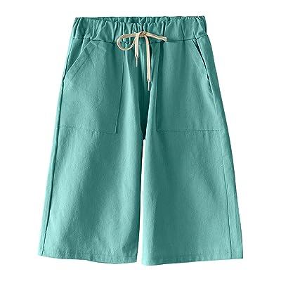 HOW'ON Women's Casual Elastic Waist Knee-Length Bermuda Shorts with Drawstring   Amazon.com