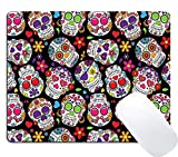 Wknoon Gaming Mouse Pad Custom Design Mat, Day of the Dead Colorful Sugar Skull Seamless Vector Background