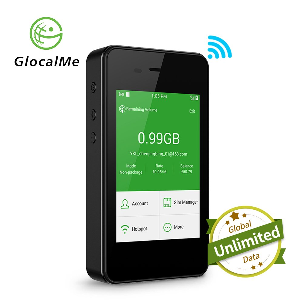 GlocalMe G2 Mobile Hotspot, 4G High Speed Unlimited Data Plan Global WIFI Hotspot, SIM Free No Roaming Charges & Unlocked Internet Access for Travel and Outdoors (Black)