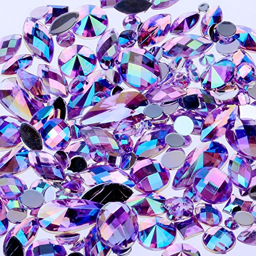 Mix Sizes 300pcs Crystal Purple AB Nail Art Rhinestones DIY Non Hotfix Flatback Acrylic Nail Stones Gems for 3D Nails Art Decorations (Purple AB)