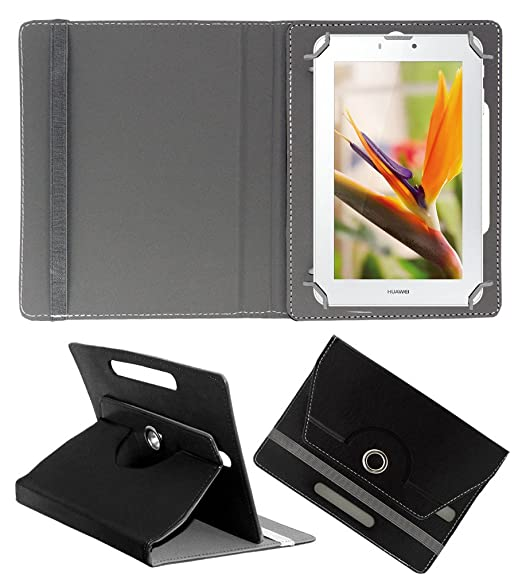 Acm Rotating 360 Leather Flip Case Compatible with Huawei Mediapad 7 Youth 2 Tablet Cover Stand Black