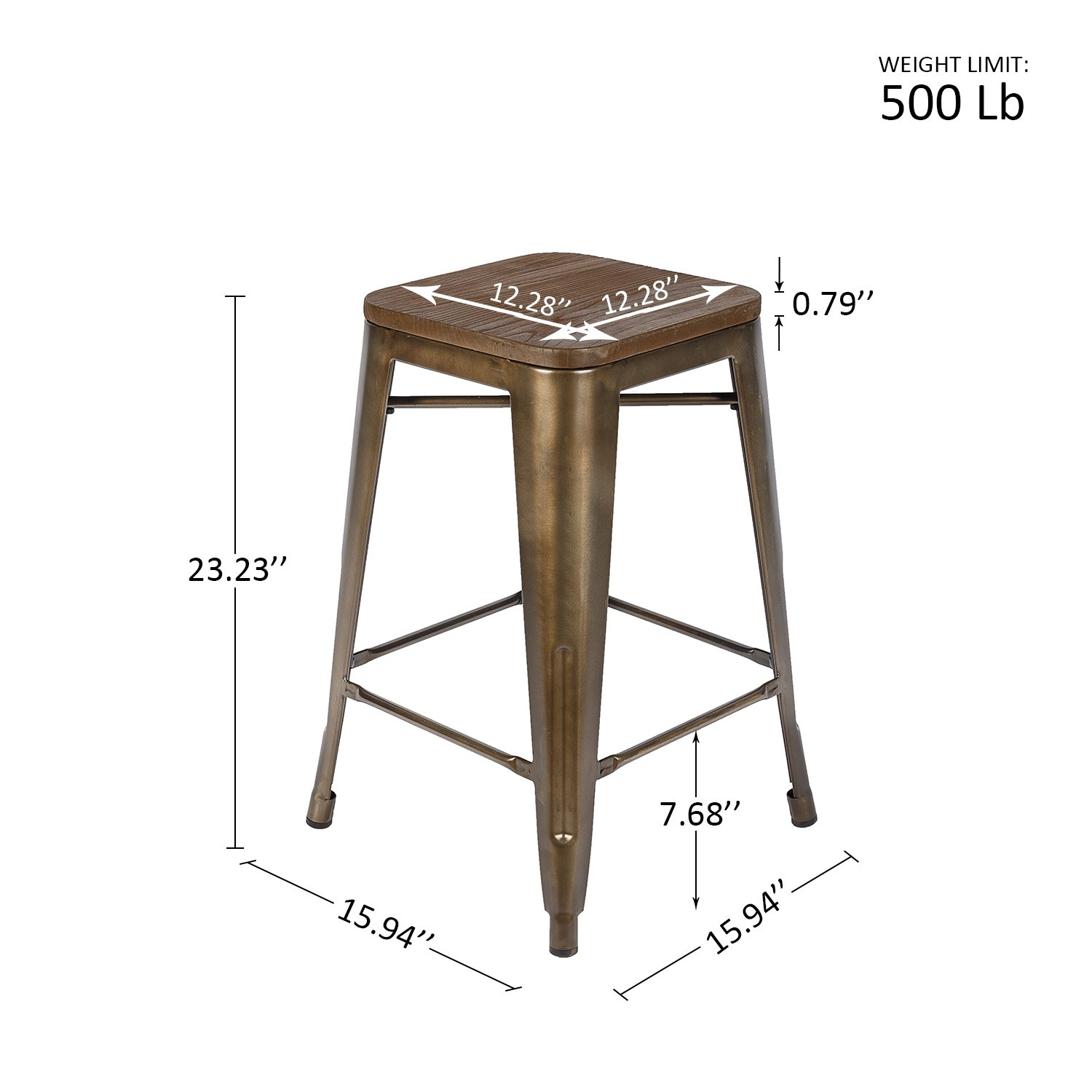 LCH 24 Inch Patio Metal Industrial Bar Stools, Set of 4 Indoor/Outdoor Counter Stackable Barstool with Wood Seat, 500 LB Limit, Antique Copper by LCH (Image #6)