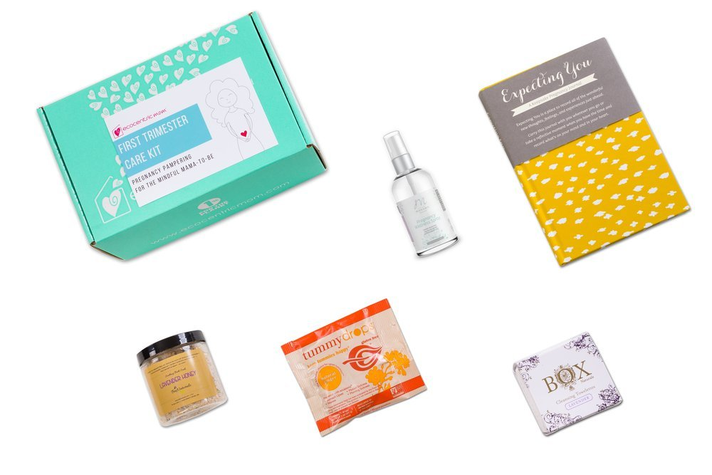 Ecocentric Mom Pregnancy Gift Box - First Trimester Maternity Gifts With Non-Toxic, Organic, Natural & Unique Products - Lavender Wipes, Bath Salts, Body Nectar, Pregnancy Journal And Tummy Drops by Ecocentric Mom (Image #2)