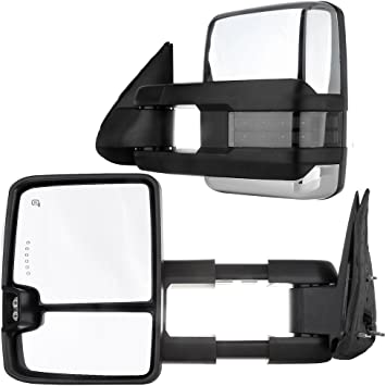 INEEDUP Tow Mirror Towing Mirror Fit for 2015-2017 Chevy Silverado//GMC Sierra 2500 3500 HD 2014-2017 Chevy Silverado//GMC Sierra 1500 with Left Side Power Heated LED Turn Signal Light