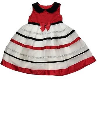 d492106b178 Amazon.com  Ashley Ann Big Girls Red White   Black Striped Holiday ...