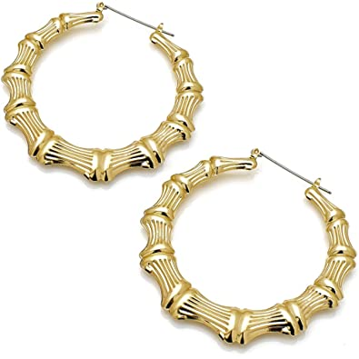55065f458 Classic style women's large bamboo fashion gold plated costume jewellery 7  cm hoop earring design: Amazon.co.uk: Jewellery