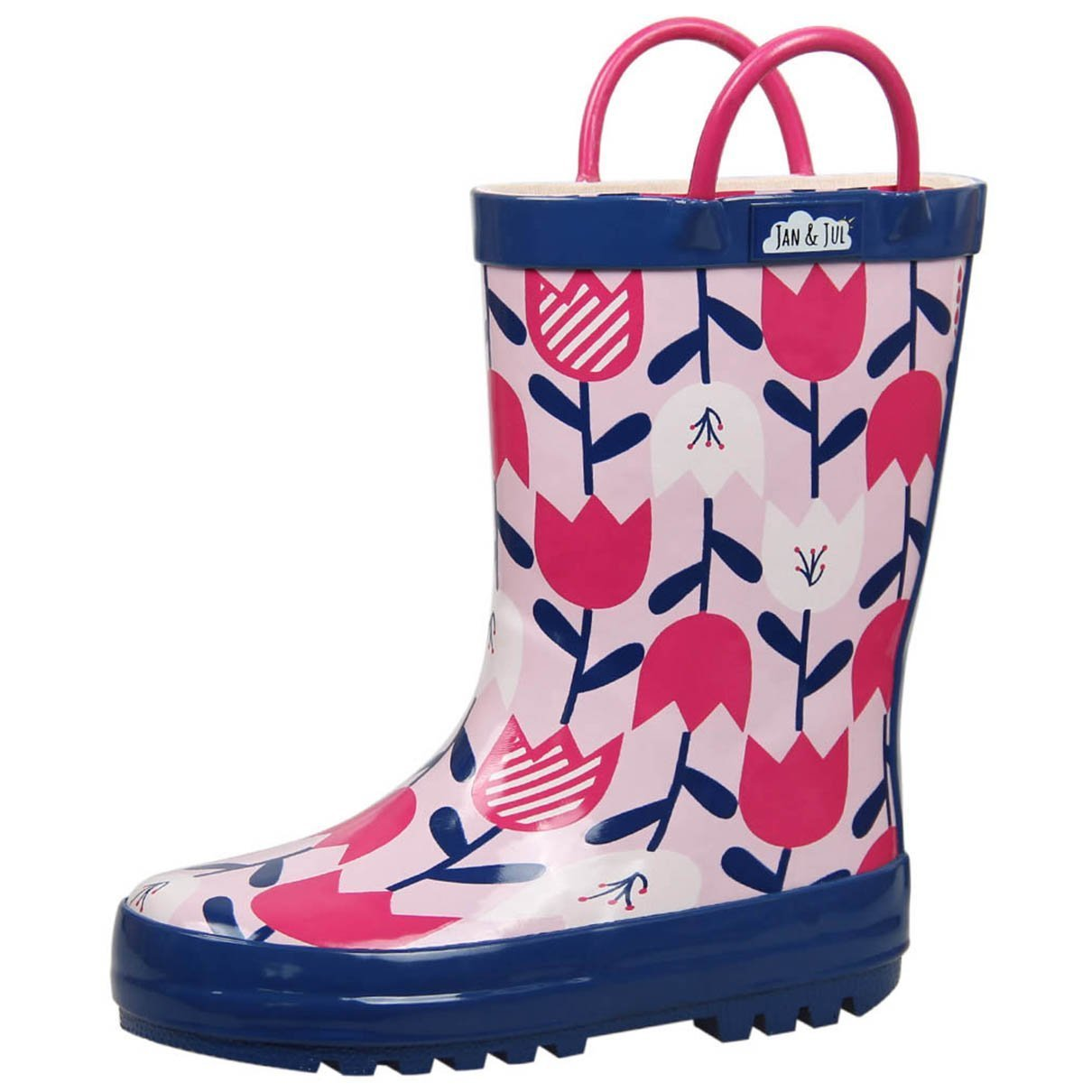 Natural Rubber Rain Boots Toddler Girls Kids (Toddler Size 8 with Handles, Tulip Flowers)