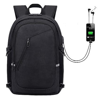 Conzy Mochila para portátil de Viaje Bolsa antirrobo Resistente al Agua con Puerto de Carga USB Mochilas de Negocios para Mujeres Hombres Colegio Col