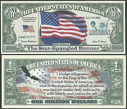 (American Flag with Pledge of Allegiance United States Bills- Lot of 2 Bills)