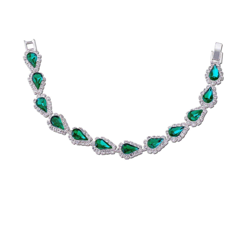 Vintage Retro Art Deco Style Wedding Bridal Prom Formal Green Emerald Rhinestone Statement Bracelet
