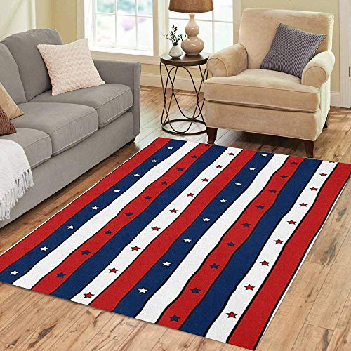 Pinbeam Area Rug Red White and Blue Striped Patriotic Stars Abstract Home Decor Floor Rug 5' x 7' Carpet (Star Rug Blue)