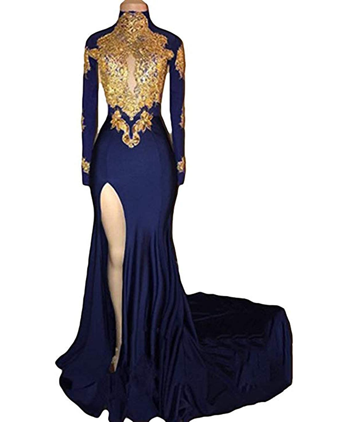 Navy bluee olise bridal Women's Mermaid Prom Dresses 2018 High Neck gold Appliques Long Sleeves Evening Gowns
