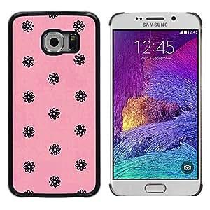 Be Good Phone Accessory // Dura Cáscara cubierta Protectora Caso Carcasa Funda de Protección para Samsung Galaxy S6 EDGE SM-G925 // pink black vintage retro floral wallpaper