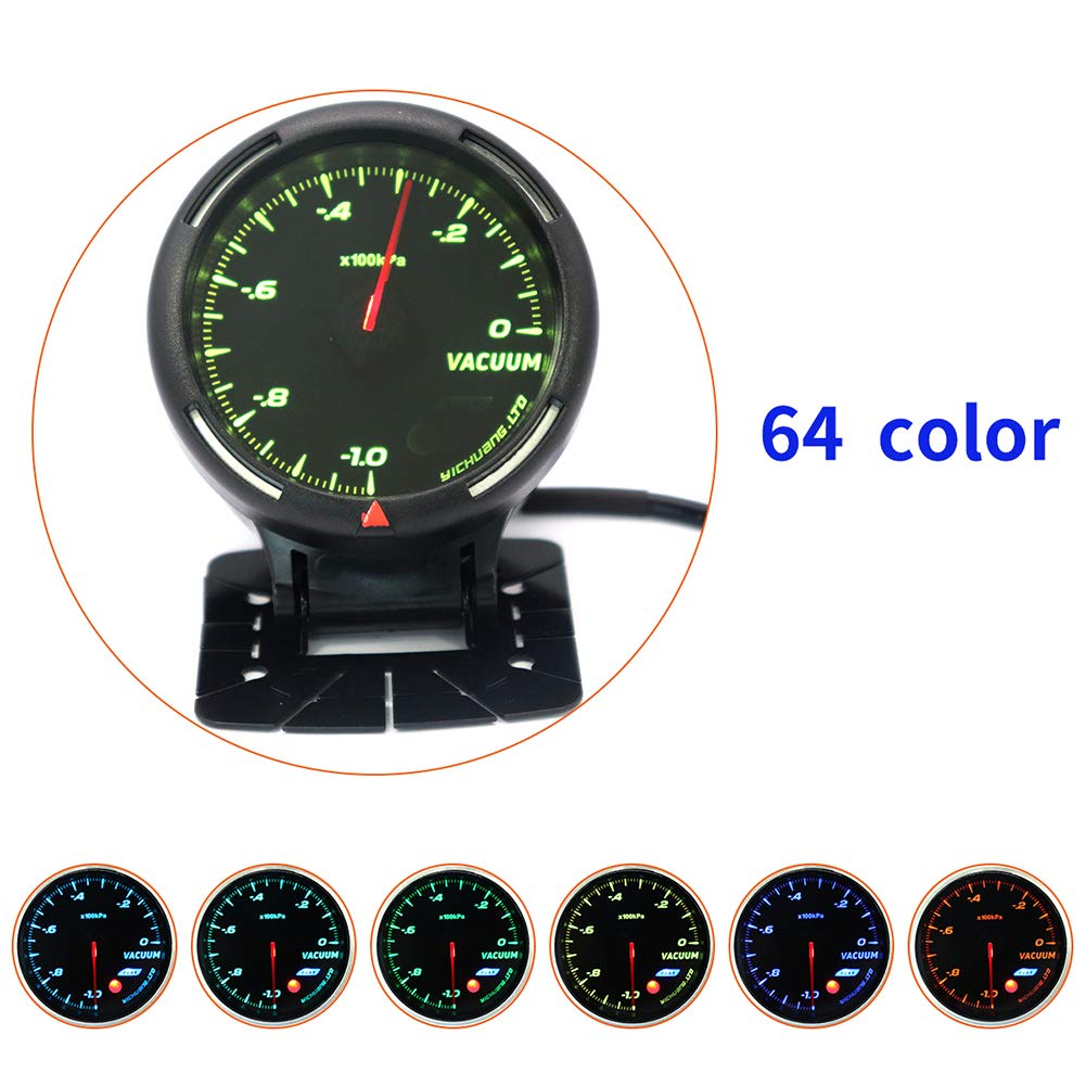 ETbotu 12V Vehicle Car 64-Color Backlight Adjustable 100KPa Vacuum Meter with Sensor
