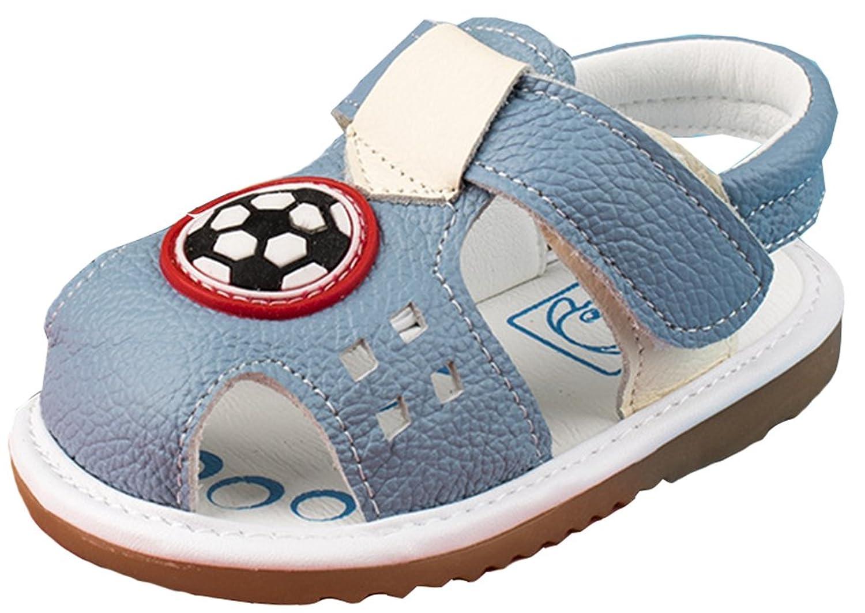VECJUNIA Boy's Girl's Flat Sandals - Closed Toe T-Strap Slingback Sandals - Cut Out Cartoon Print - Summer Prewalker Sandals (Toddler)