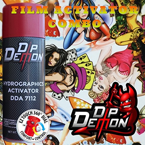 Combo Kit Colored Naughty Girls Hydrographic Water Transfer Film Activator Combo Kit Hydro Dipping Dip Demon ()