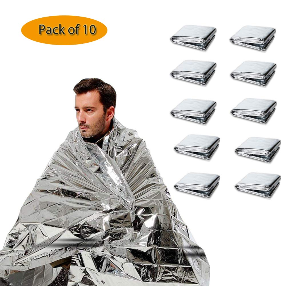 CTlite Emergency Blanket 51 X 82 Silver Mylar Thermal Space Blanket Emergency Survival Kits for Camping Hiking Outdoor Sports First Aid Marathons Natural Disaster