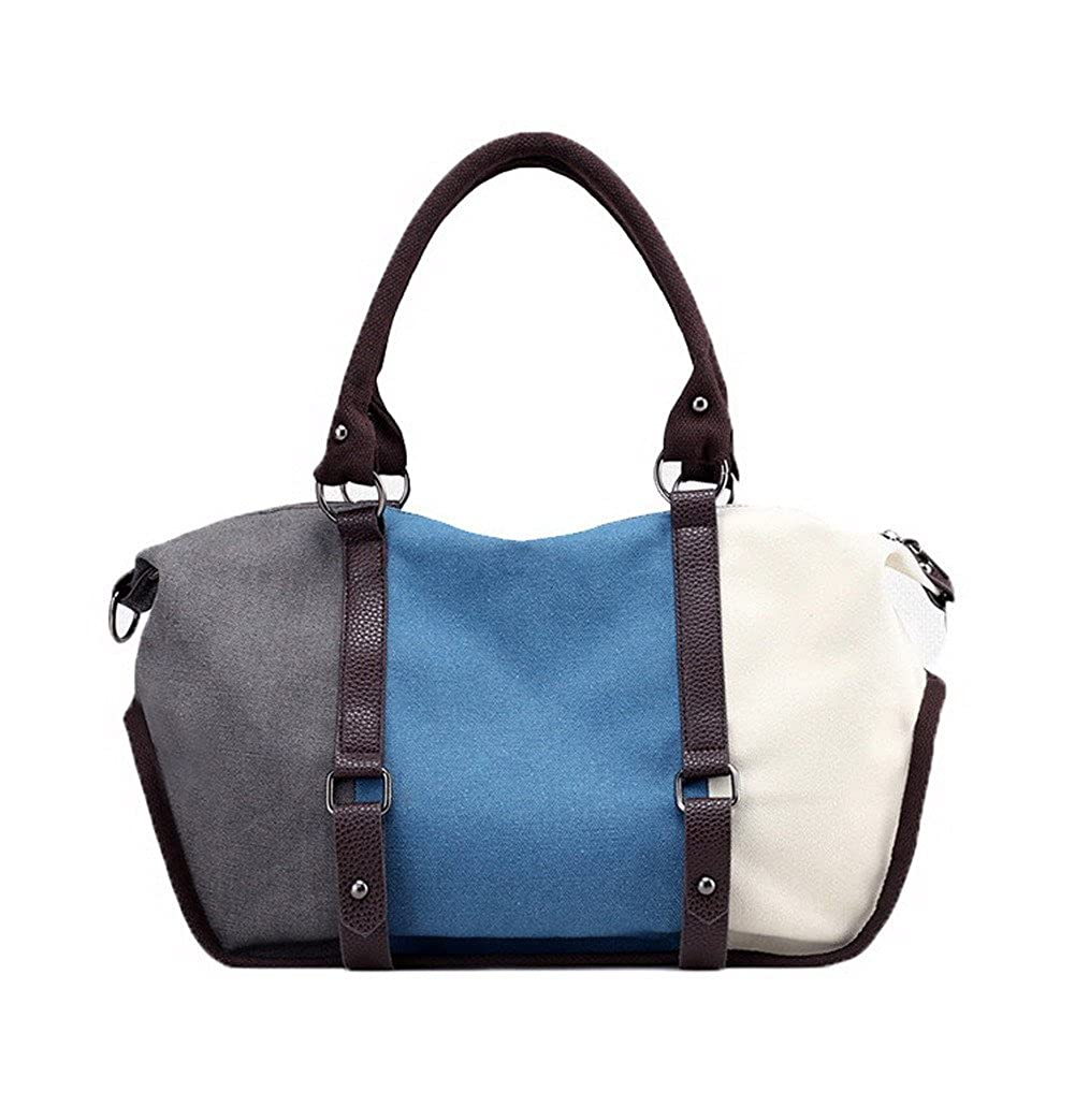 bluee AmoonyFashion Women's Fashion ToteStyle Canvas Shoulder Bags Clutch Handbags, BUTBS181365